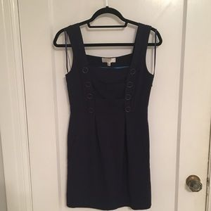 Anthropologie Navy Mini Dress w/ Gold Buttons